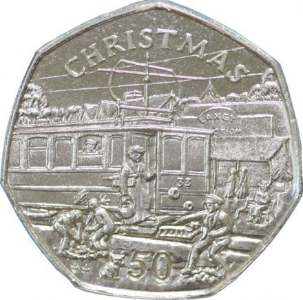1989 Isle of Man Christmas 50 pence  with card